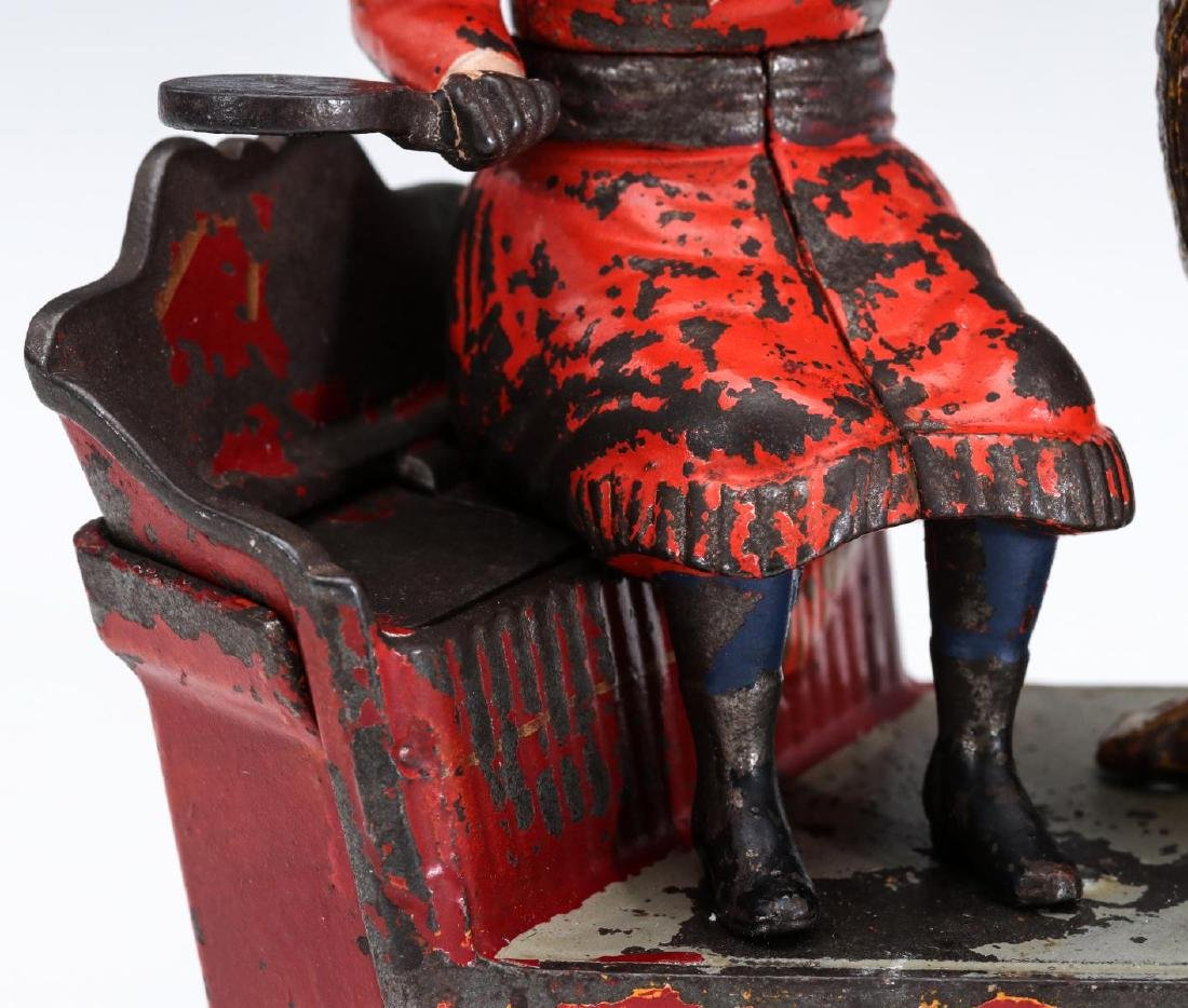 A 19TH C. SPEAKING DOG CAST IRON MECHANICAL BANK - 3