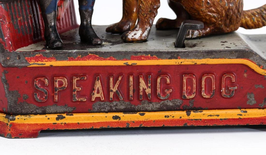 A 19TH C. SPEAKING DOG CAST IRON MECHANICAL BANK - 5
