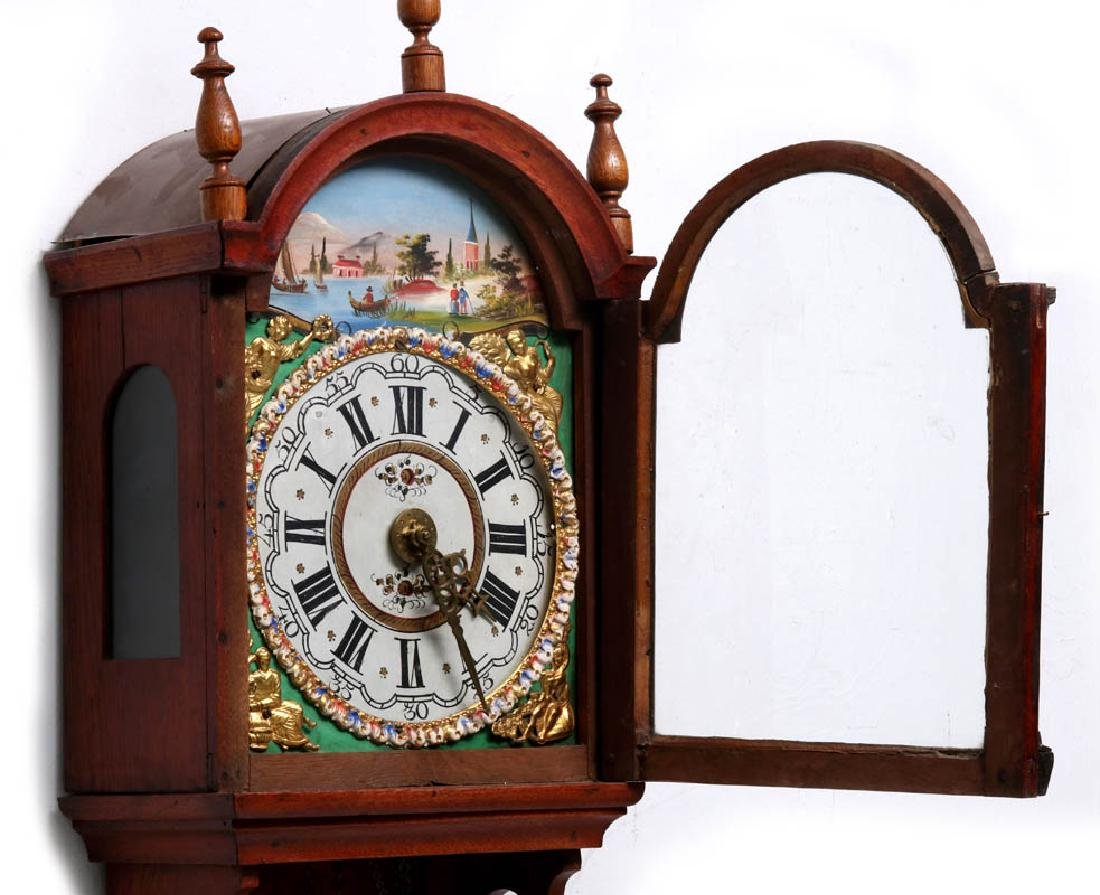 A LARGE DUTCH FRIESIAN-TYPE CLOCK W/ELABORATE DIAL - 10