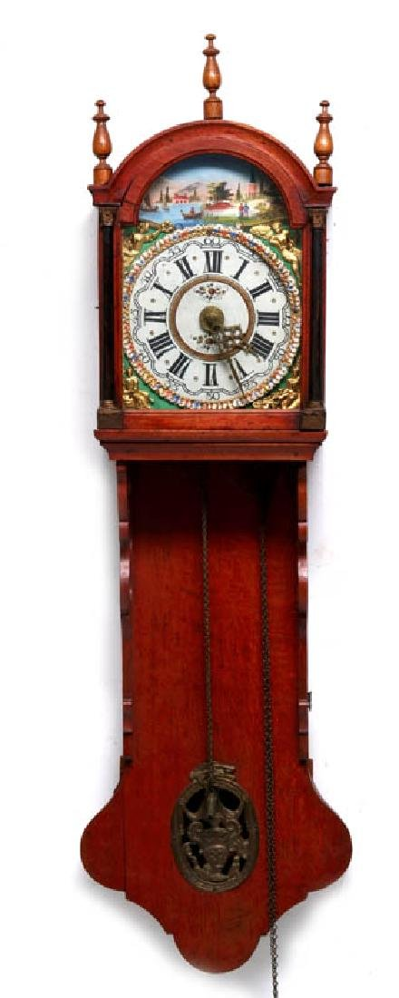 A LARGE DUTCH FRIESIAN-TYPE CLOCK W/ELABORATE DIAL