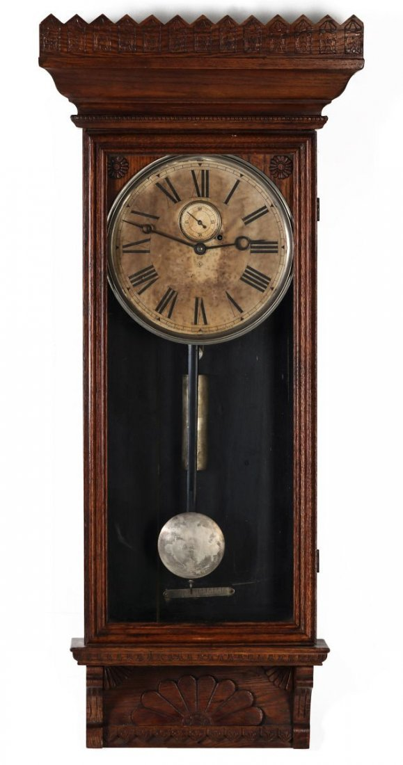 A WM. L. GILBERT CO. REGULATOR WALL CLOCK NO. 14