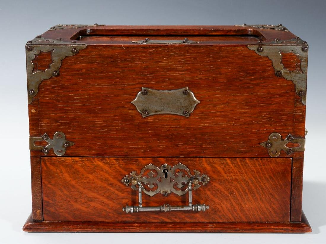 A NICKEL BOUND ENGLISH OAK STATIONARY BOX C 1890