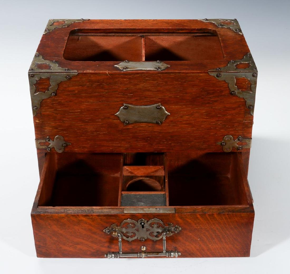 A NICKEL BOUND ENGLISH OAK STATIONARY BOX C 1890 - 2