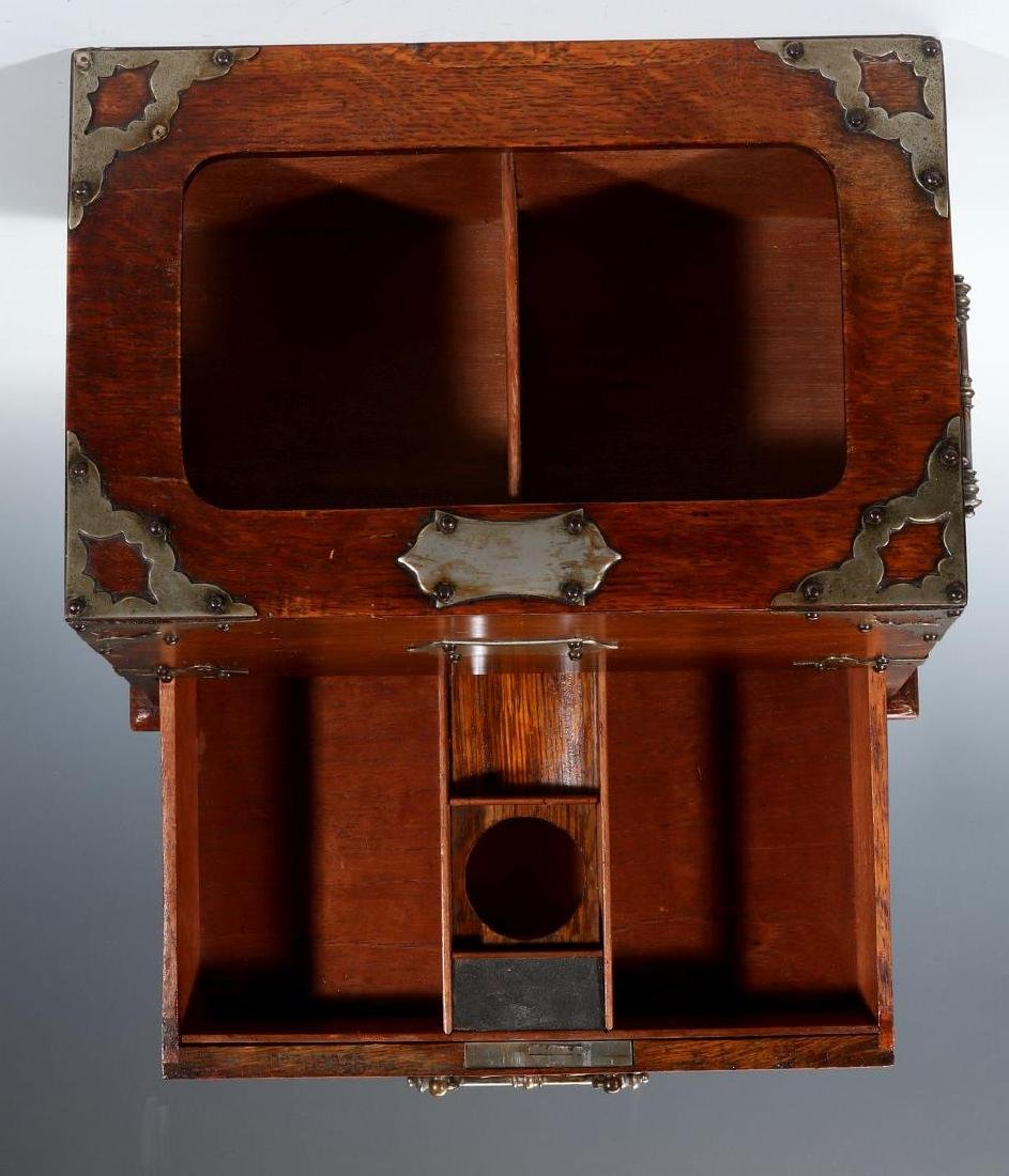 A NICKEL BOUND ENGLISH OAK STATIONARY BOX C 1890 - 3