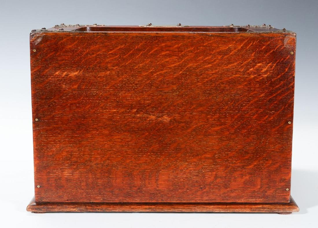 A NICKEL BOUND ENGLISH OAK STATIONARY BOX C 1890 - 5