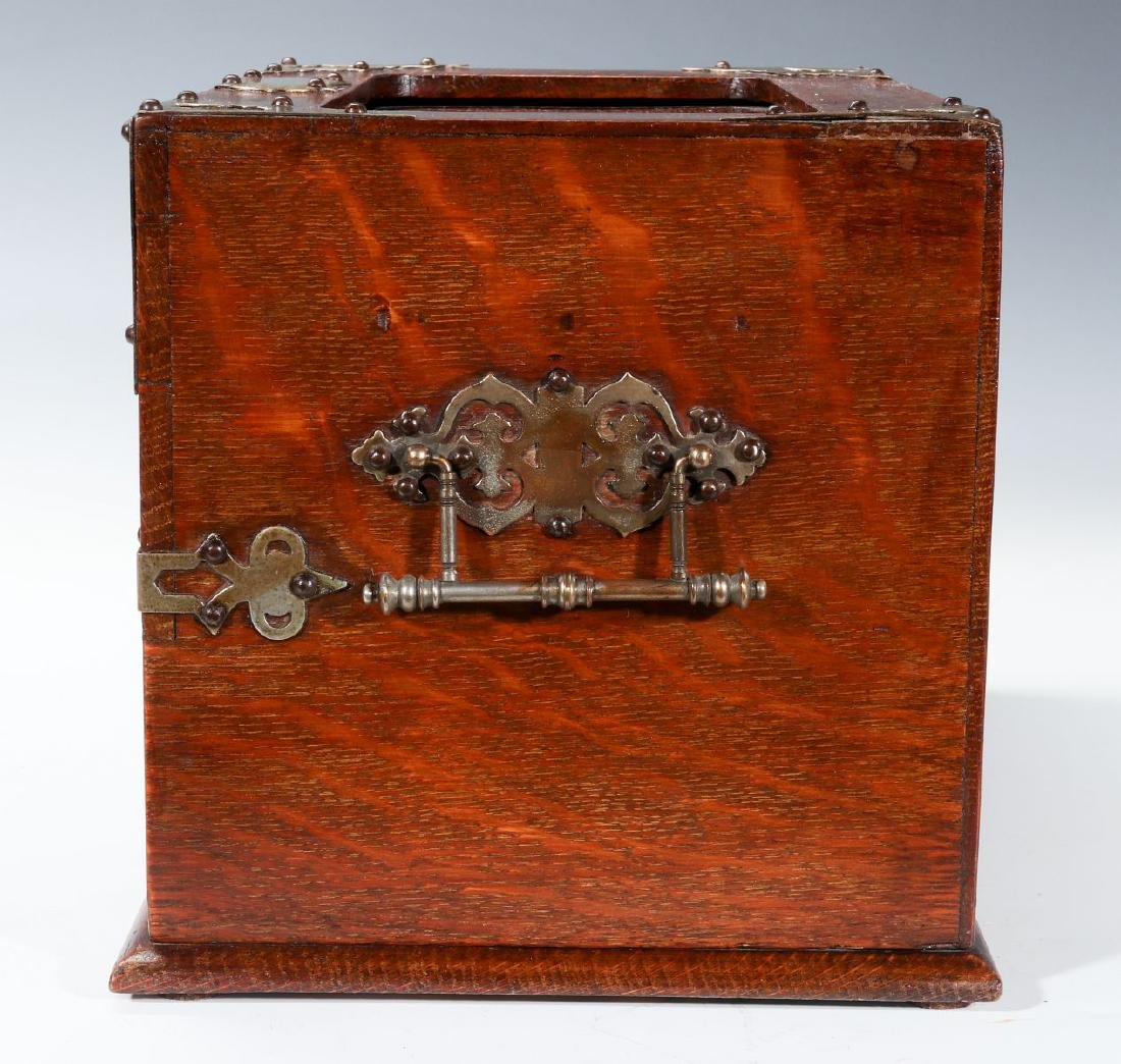 A NICKEL BOUND ENGLISH OAK STATIONARY BOX C 1890 - 6