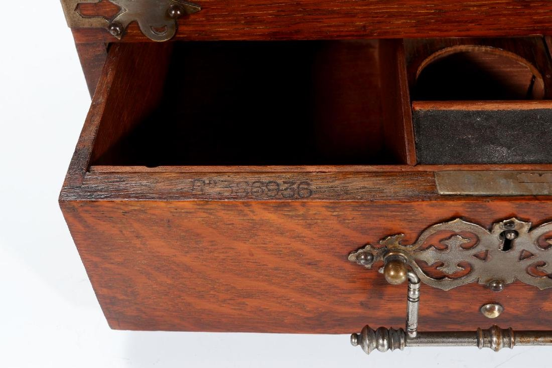 A NICKEL BOUND ENGLISH OAK STATIONARY BOX C 1890 - 7