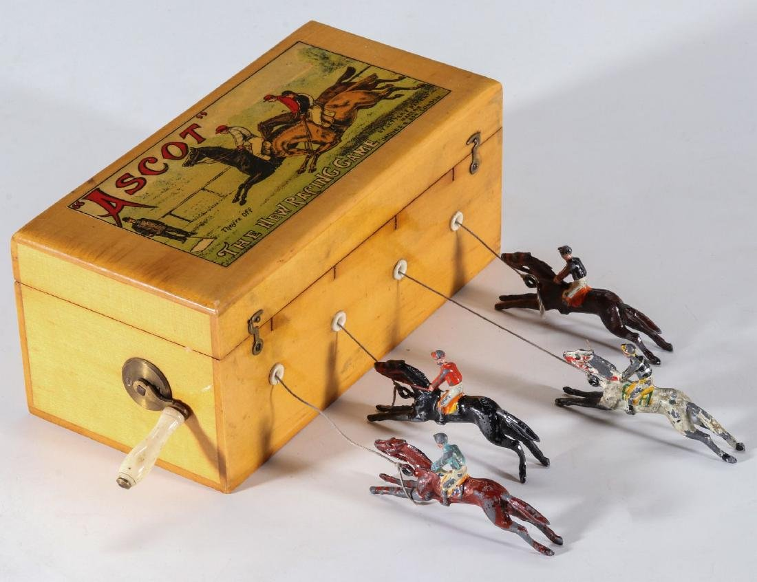 A 19TH C. BRITISH HAND OPERATED HORSE RACE GAME