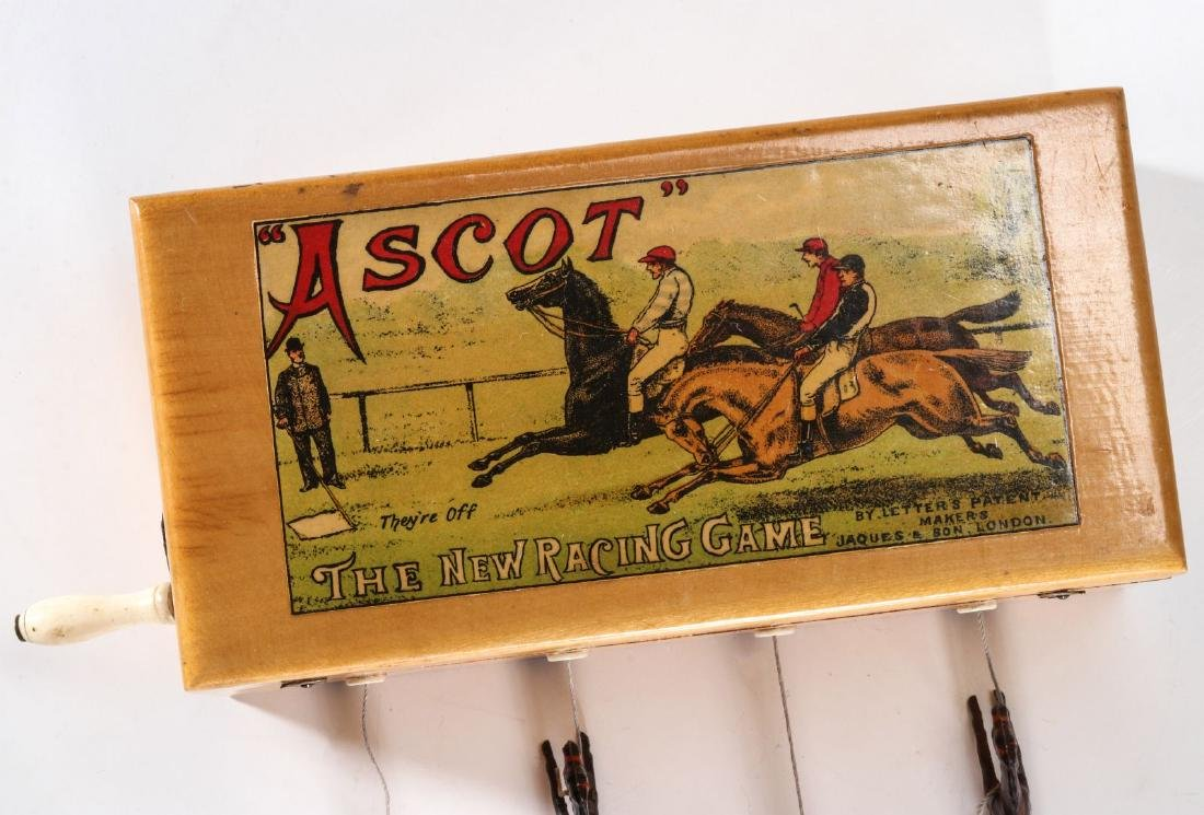 A 19TH C. BRITISH HAND OPERATED HORSE RACE GAME - 2