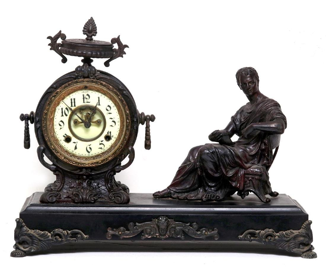 A NEW HAVEN SEATED STATUE CLOCK