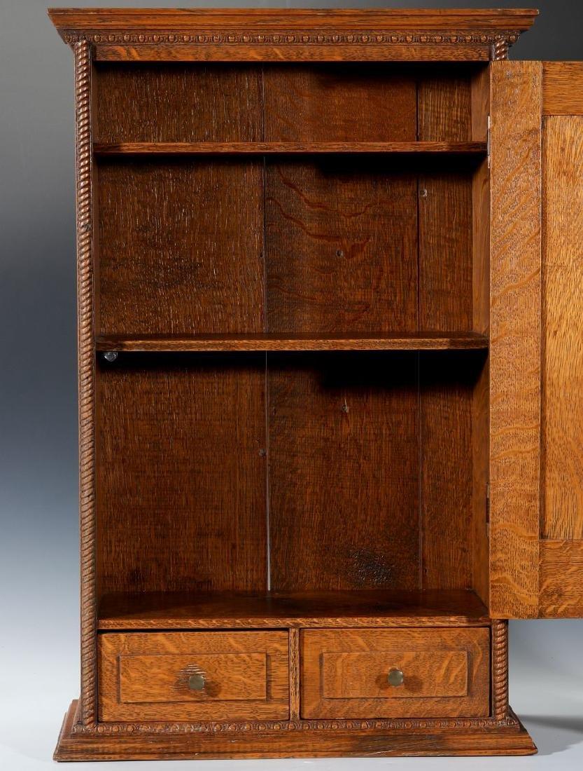 A HANDSOME OAK TABLETOP SHAVING CABINET C. 1900 - 2