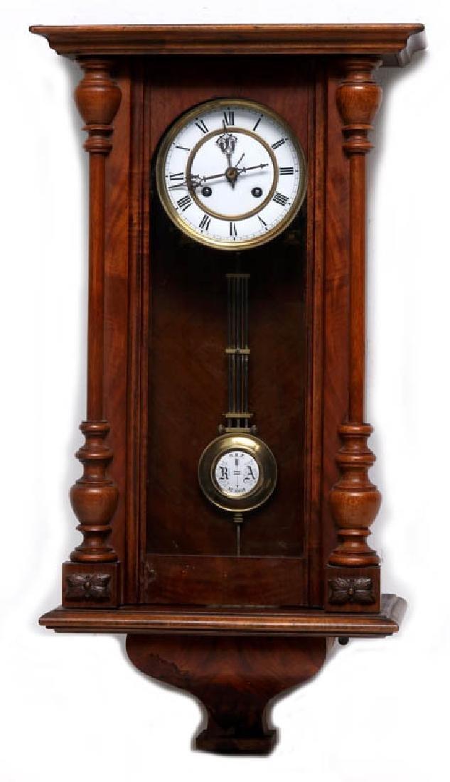 A VIENNA EIGHT-DAY REGULATOR WALL CLOCK