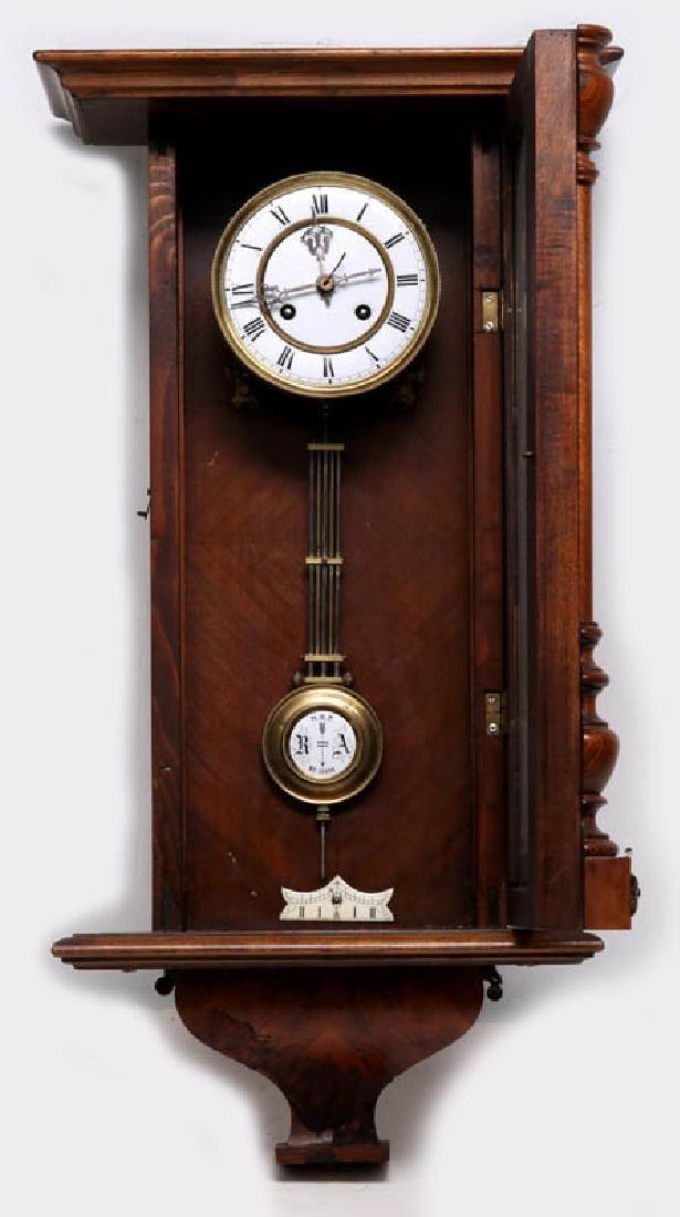 A VIENNA EIGHT-DAY REGULATOR WALL CLOCK - 7