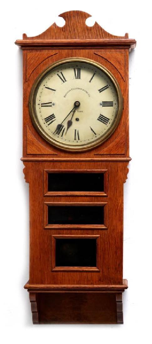 A PRENTISS CALENDAR & TIME CO. WALL CLOCK AS FOUND