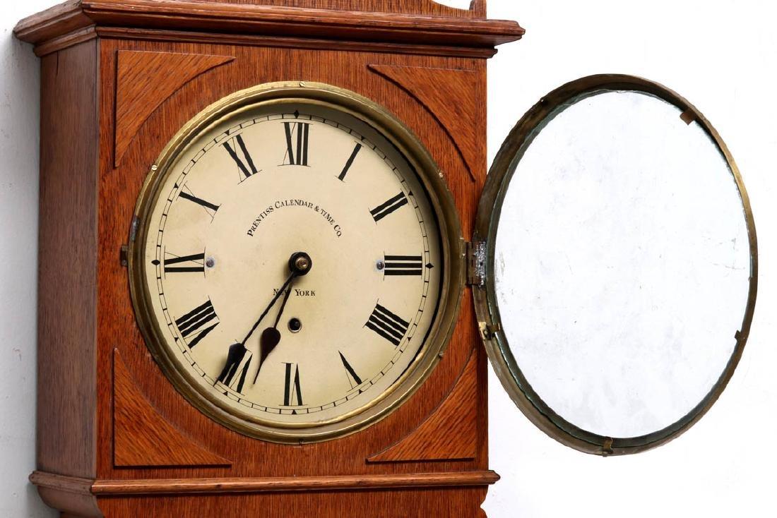 A PRENTISS CALENDAR & TIME CO. WALL CLOCK AS FOUND - 4