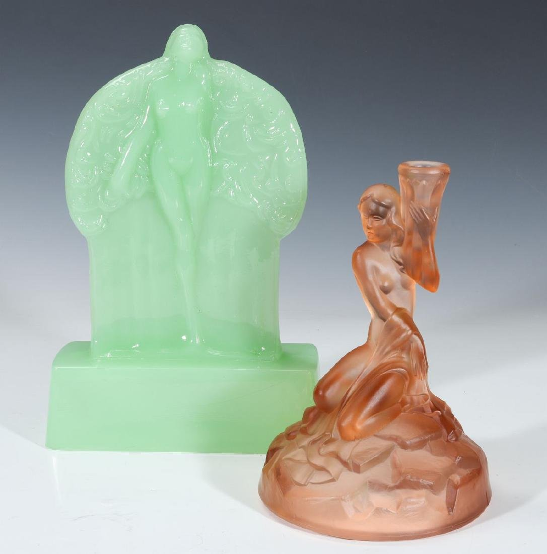 TWO ART DECO ART GLASS LAMP BASES WITH NUDES