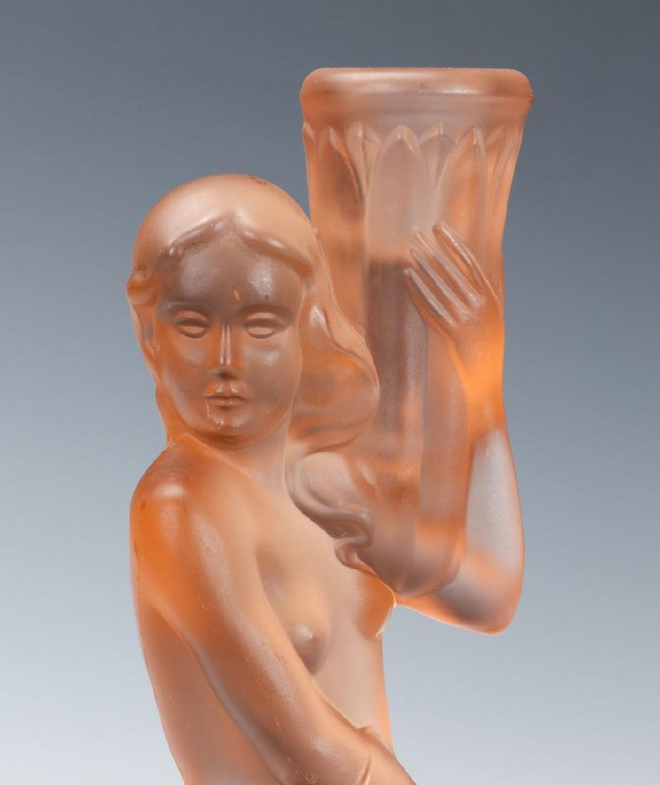 TWO ART DECO ART GLASS LAMP BASES WITH NUDES - 9