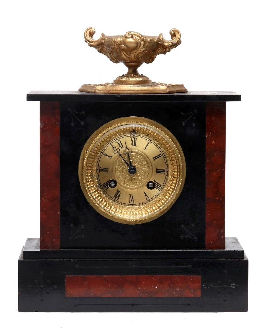 A 19TH FRENCH SLATE AND MARBLE MANTLE CLOCK