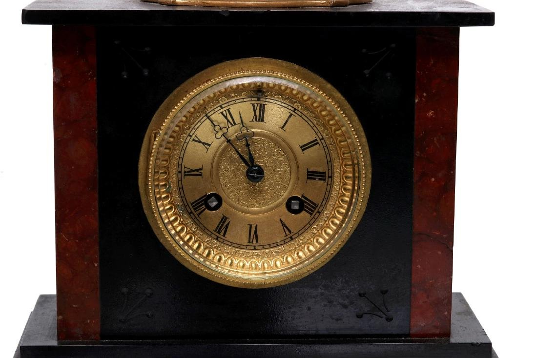 A 19TH FRENCH SLATE AND MARBLE MANTLE CLOCK - 3