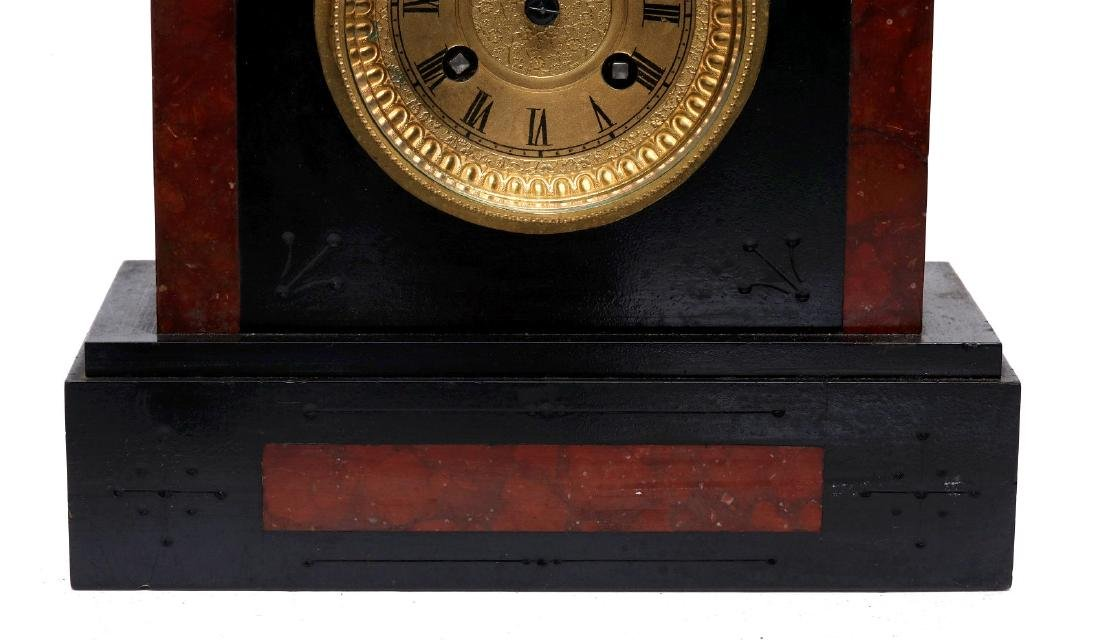 A 19TH FRENCH SLATE AND MARBLE MANTLE CLOCK - 4