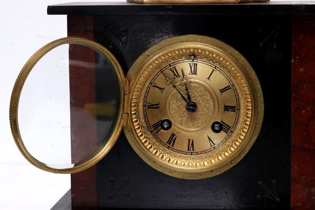 A 19TH FRENCH SLATE AND MARBLE MANTLE CLOCK - 5