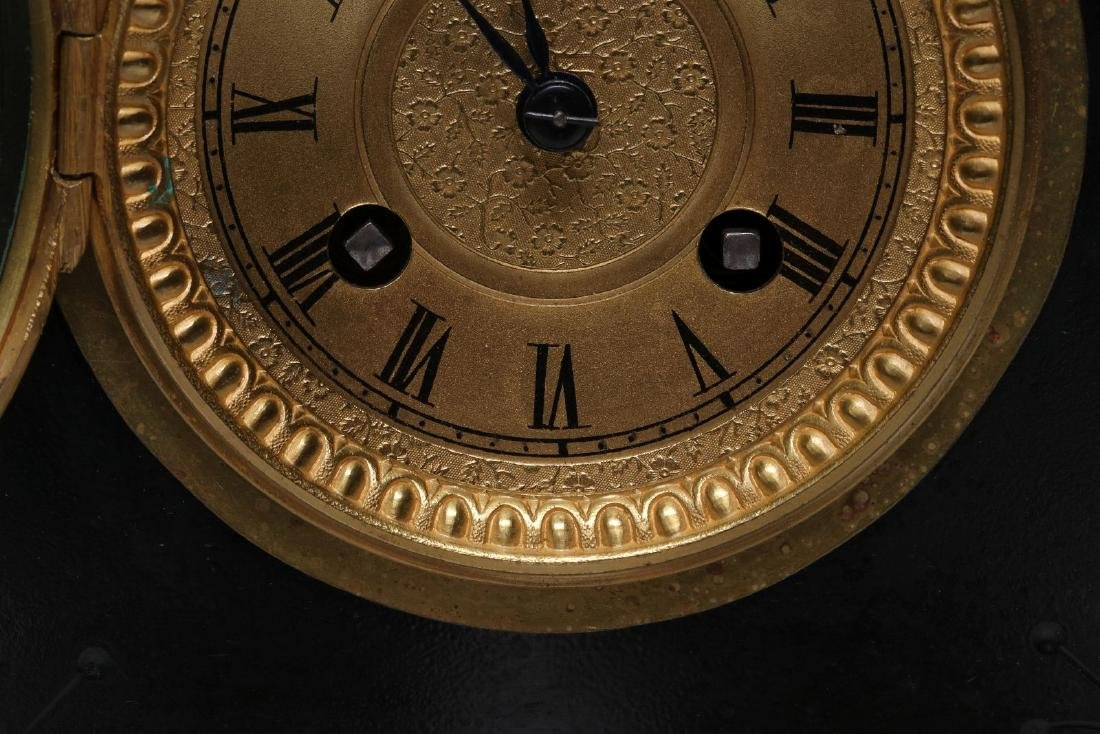 A 19TH FRENCH SLATE AND MARBLE MANTLE CLOCK - 7