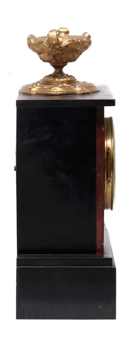 A 19TH FRENCH SLATE AND MARBLE MANTLE CLOCK - 8