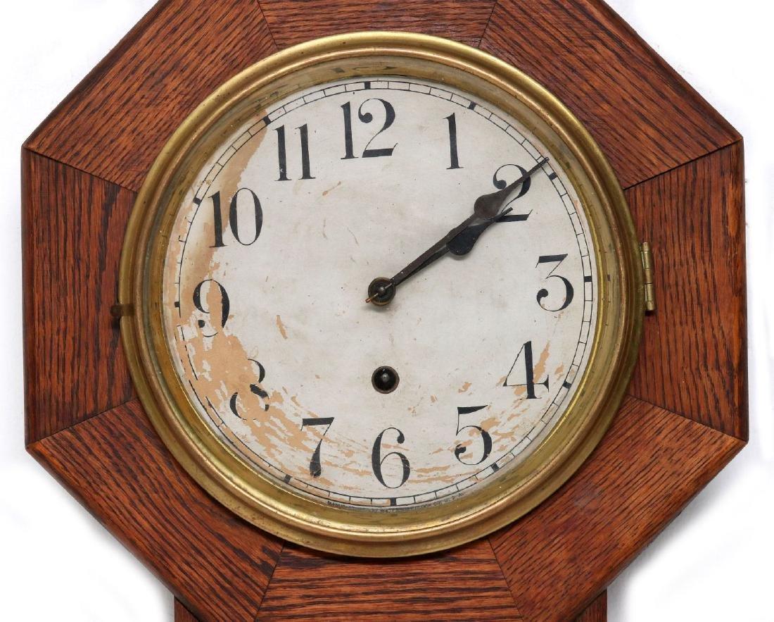 A WATERBURY SHORT DROP SCHOOLHOUSE CLOCK - 2