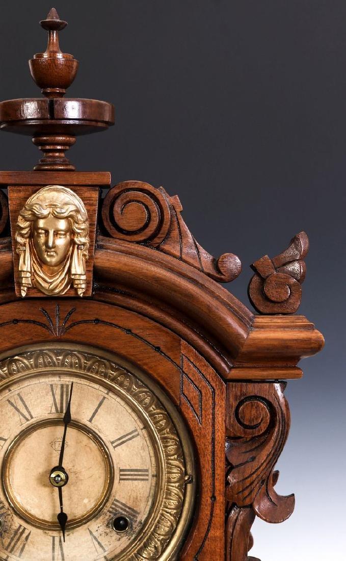 AN ANSONIA 'MONARCH' FANCY WALNUT PARLOR CLOCK - 3