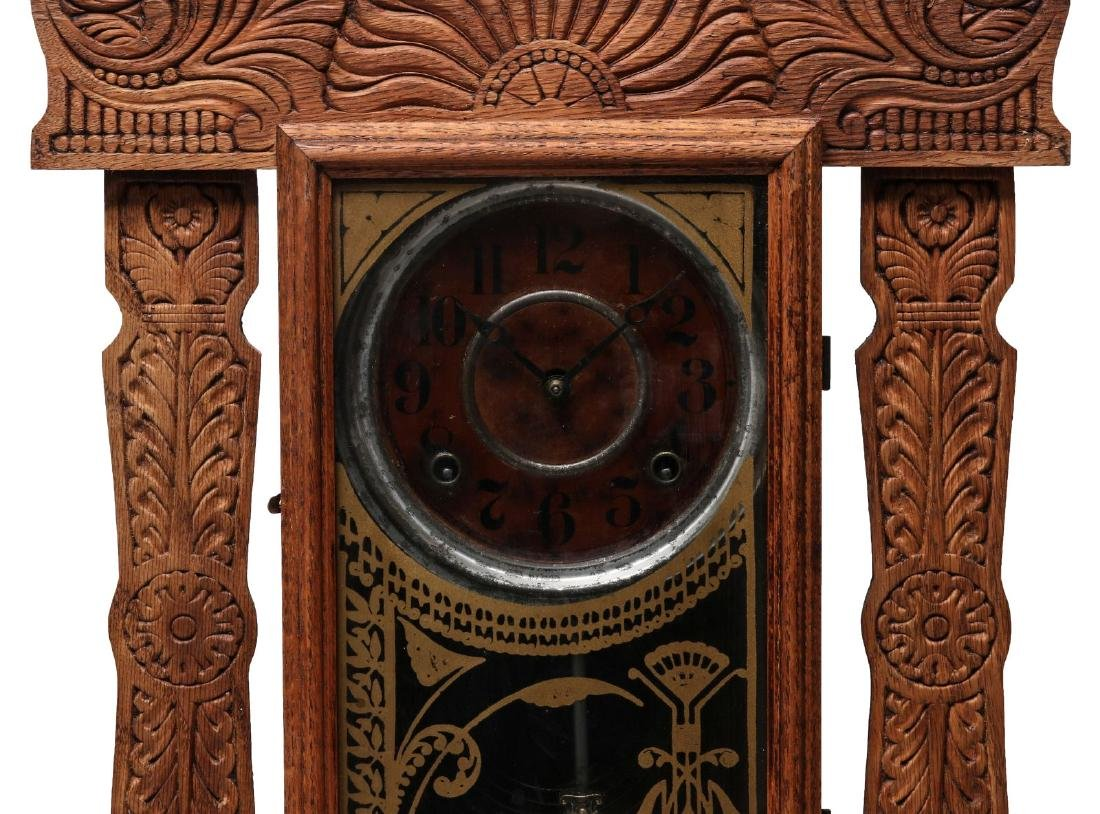 AN INGRAHAM FANCY GINGERBREAD KITCHEN CLOCK - 3