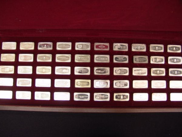 500: 50 BANKMARKED STERLING SILVER INGOTS FRANKLIN MINT