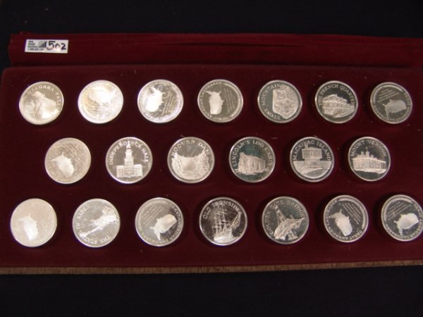502: 20 ONE OUNCE STERLING SILVER MEDALS FRANKLIN MINT