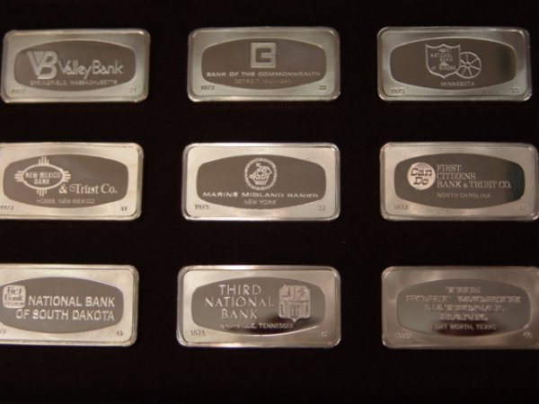 507: 50 BANKMARKED STERLING SILVER INGOTS FRANKLIN MINT