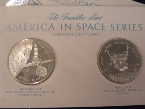 509: 23 FRANKLIN MINT AMERICAN SPACE FLIGHT SILVER MEDA