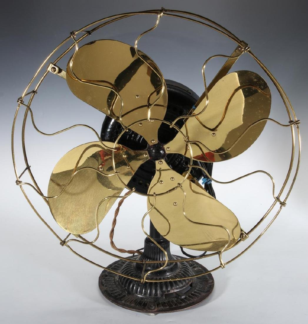 AN EMERSON INDUCTION MOTOR BRASS BLADE FAN C. 1900 - 2