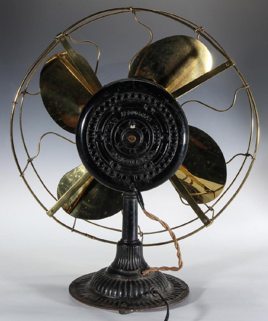 AN EMERSON INDUCTION MOTOR BRASS BLADE FAN C. 1900 - 5