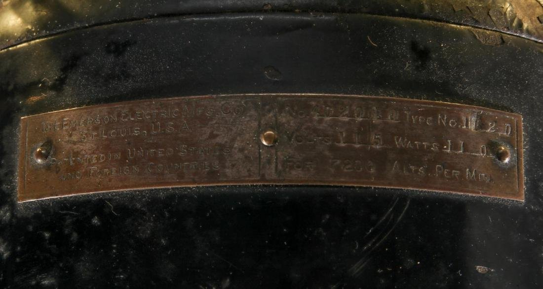 AN EMERSON INDUCTION MOTOR BRASS BLADE FAN C. 1900 - 7