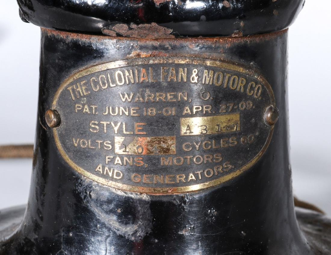 A COLONIAL BRAND TAB FOOT ELECTRIC FAN CIRCA 1910 - 3
