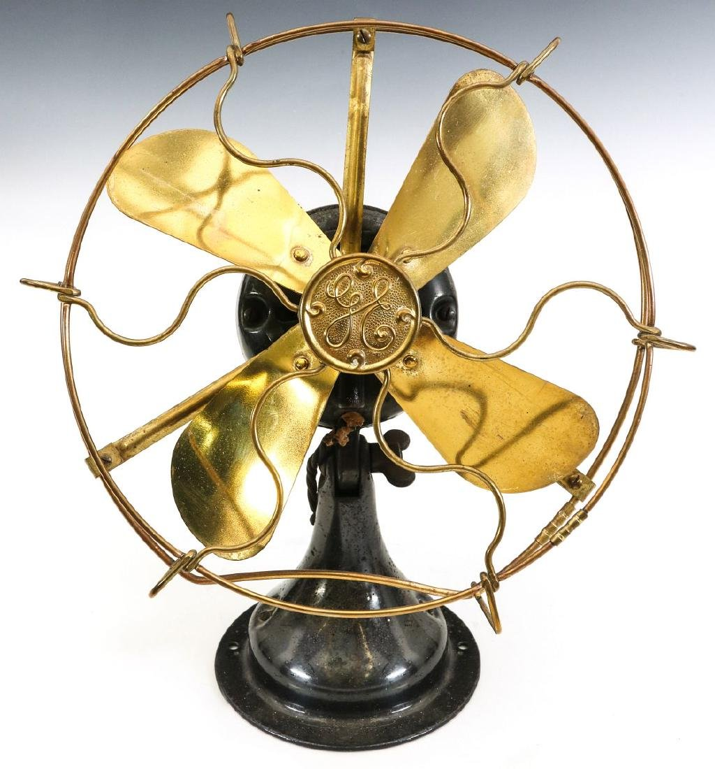 A GENERAL ELECTRIC 8-INCH ALL BRASS FAN, C. 1901