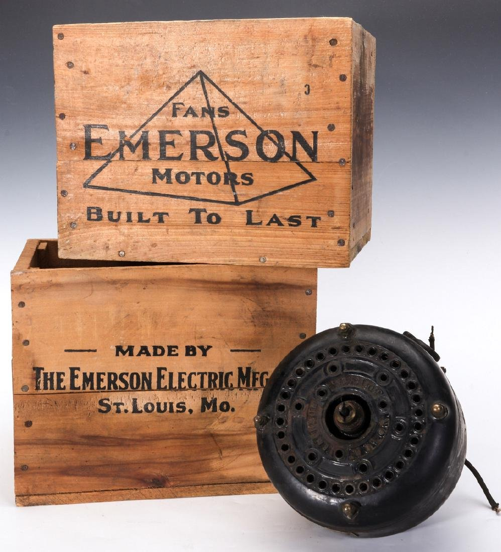 EMERSON ELECTRIC FAN MOTOR, WOODEN ADVTG CRATES