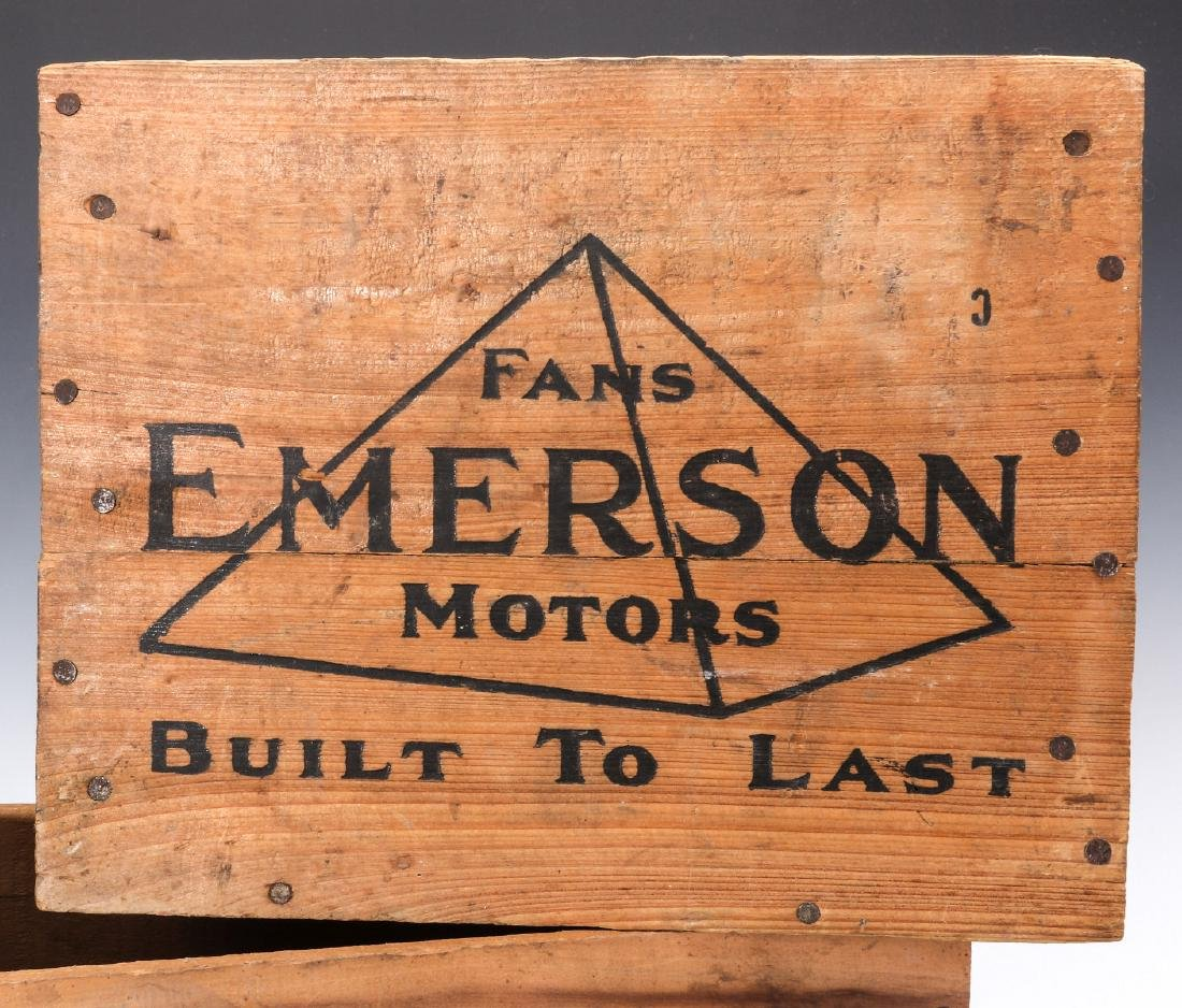 EMERSON ELECTRIC FAN MOTOR, WOODEN ADVTG CRATES - 2
