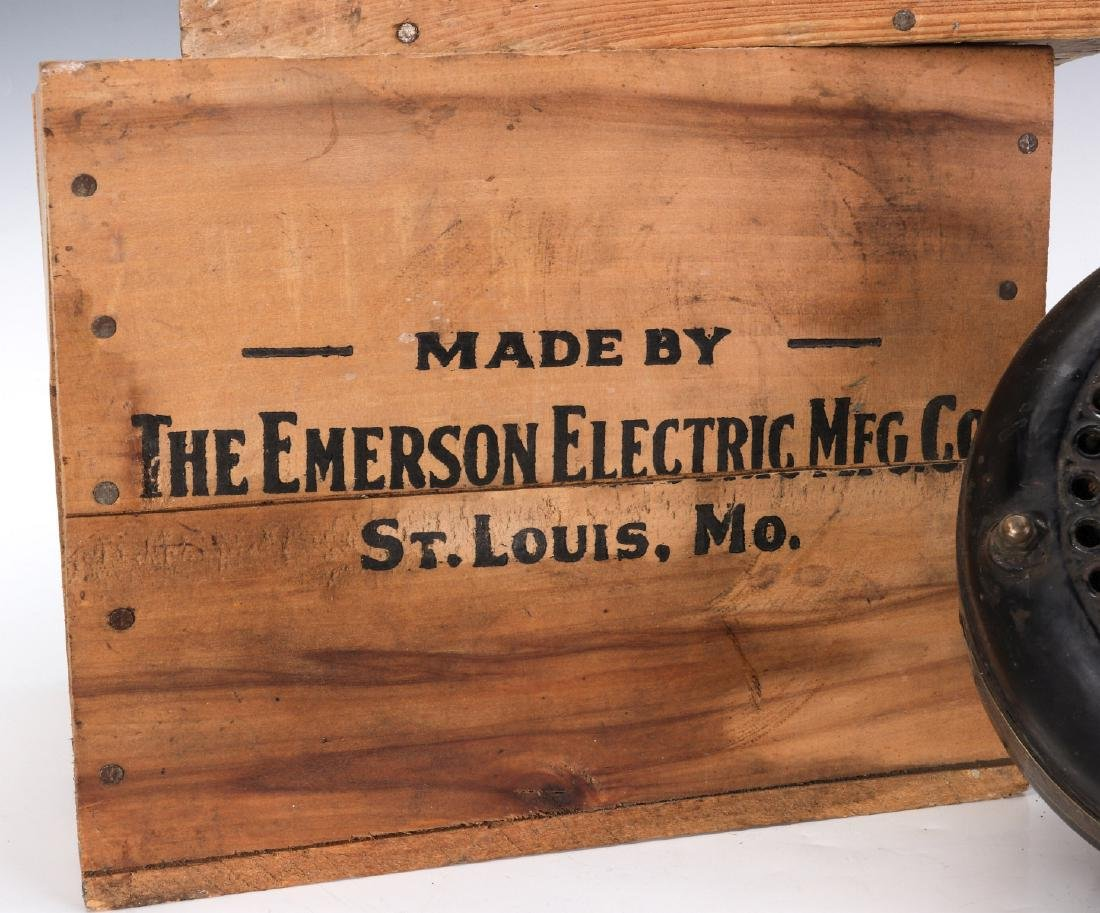 EMERSON ELECTRIC FAN MOTOR, WOODEN ADVTG CRATES - 3