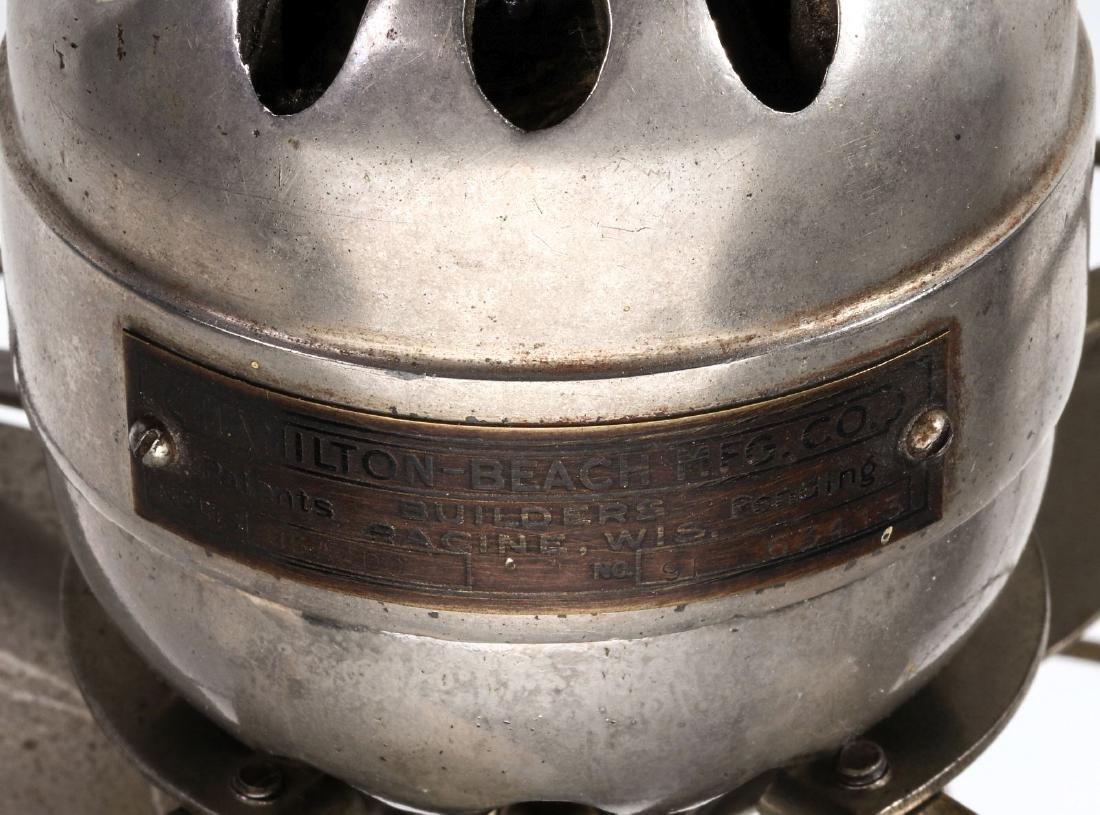 A HAMILTON BEACH NICKEL PLATED 8 INCH ELECTRIC FAN - 10