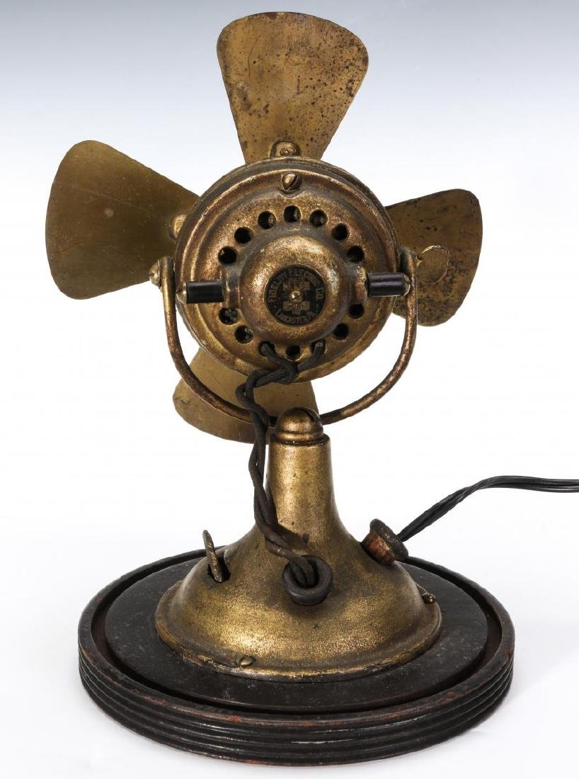 A FIDELITY ELECTRIC CO. ALL BRASS DESK FAN - 7
