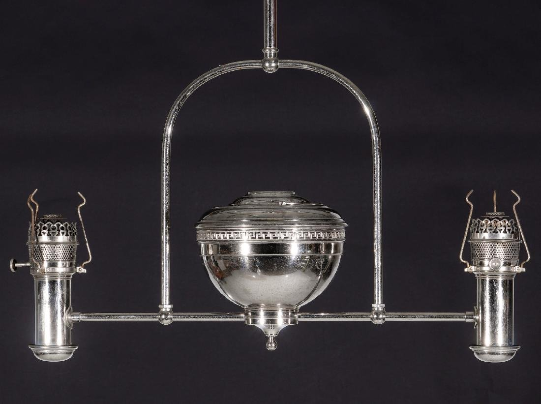 TWO ARM NICKEL PLATED CEILING LIGHT FIXTURE C 1905