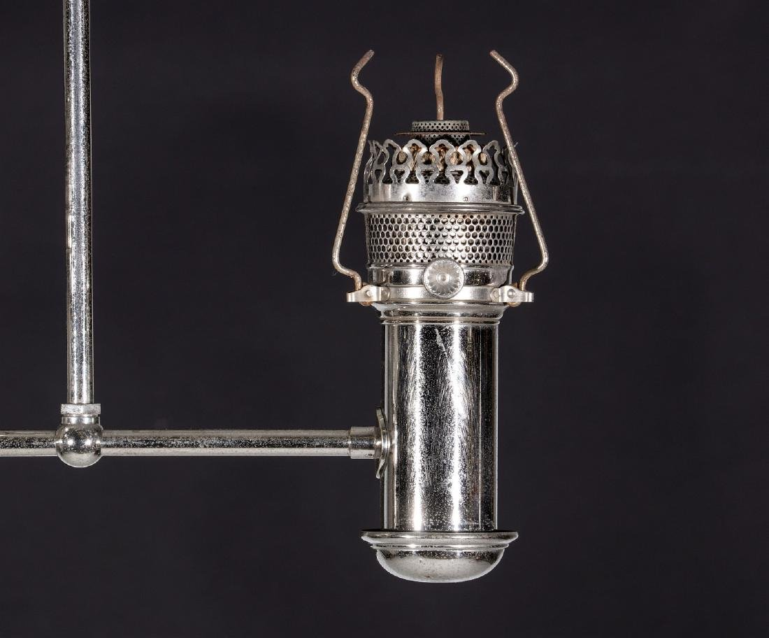 TWO ARM NICKEL PLATED CEILING LIGHT FIXTURE C 1905 - 6