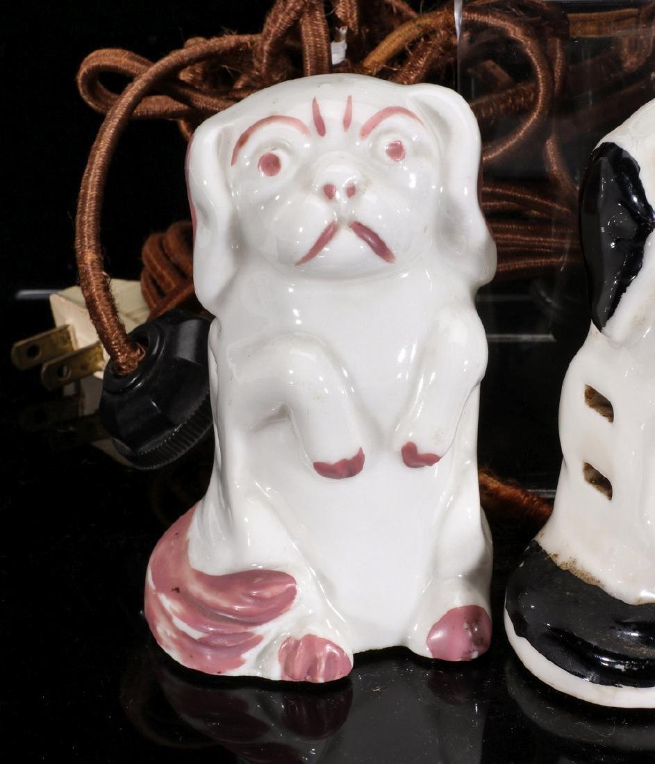 FIVE EARLY 20TH C FIGURAL DOG PORCELAIN ELEC PLUGS - 6
