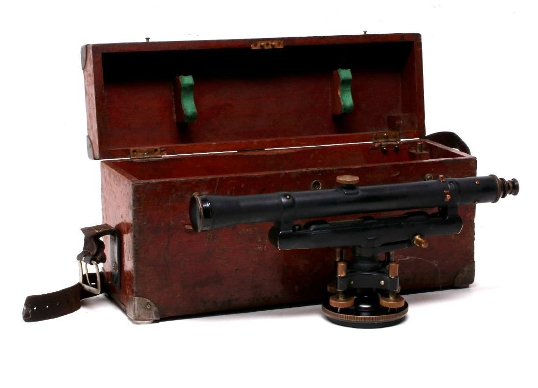 A DIETZGEN SURVEYOR TRANSIT IN WOOD CASE C 1920