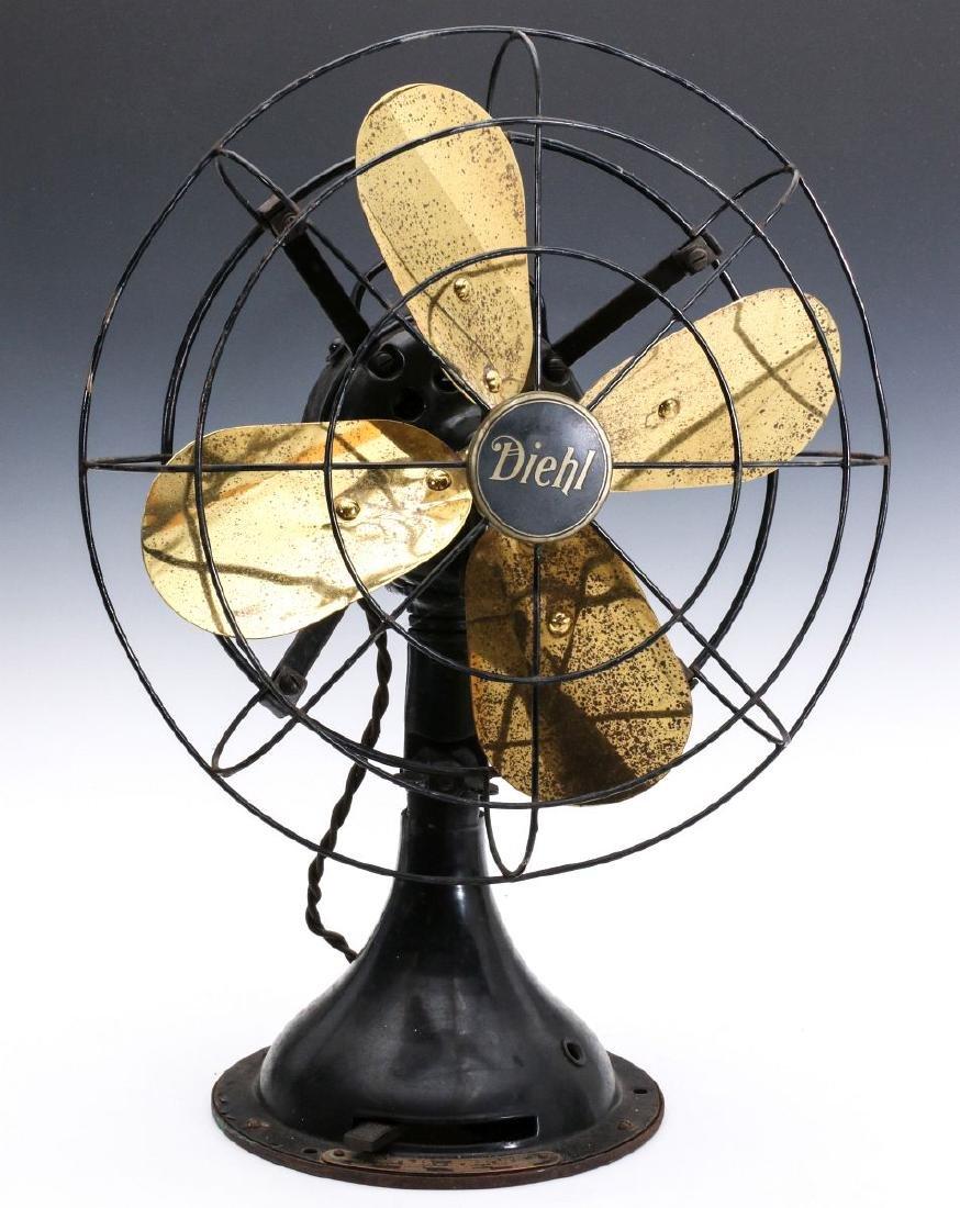 A DIEHL CO. BRASS BLADE ELECTRIC FAN CIRCA 1936