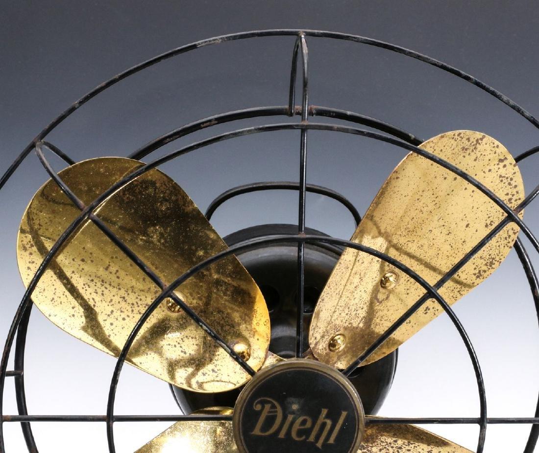 A DIEHL CO. BRASS BLADE ELECTRIC FAN CIRCA 1936 - 2